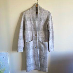Wilfred Dujardin Long Grey Check Wool Coat